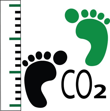 carbon footprint: black and green foot prints with measuring scale