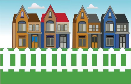 urban housing with grass and white fence Stock Vector - 6982440