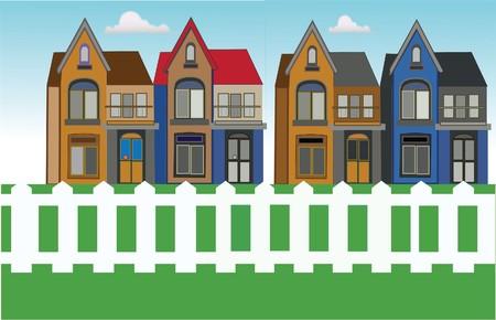 cerca blanca: vivienda urbana con valla de hierba y blanco