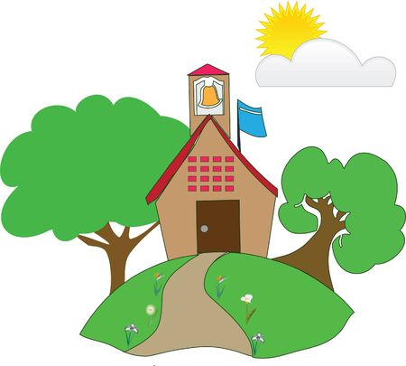 a school in green countryside Vector