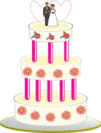 a beautiful wedding cake Vector