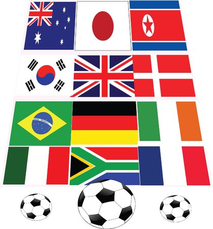 three footballs with flags of key playing countries Vector