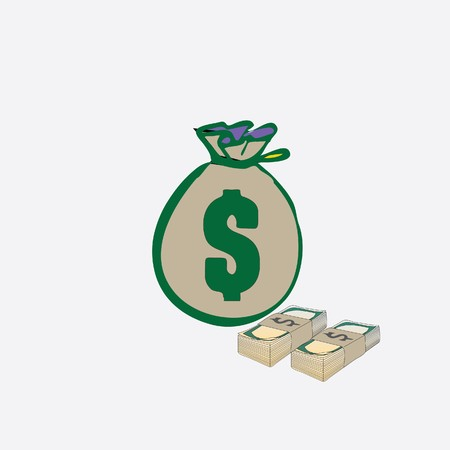money bag with stack of dollars Vector