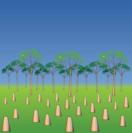 global problem: deforestation Illustration