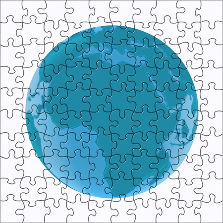 globe in blue in a puzzle pattern photo