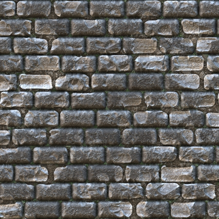 castle wall made up of old gray bricks Stock Photo