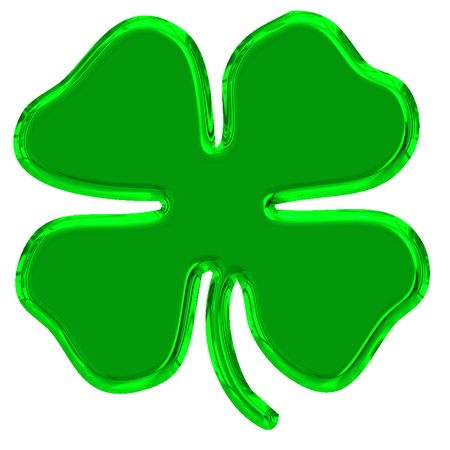 four leaves green clover is symbol of good luck photo