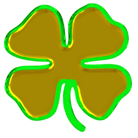 golden clover leaves with green outline Stock Photo - 8876884