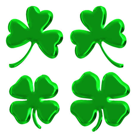 four leaves green  clover set Stock Photo - 8876882
