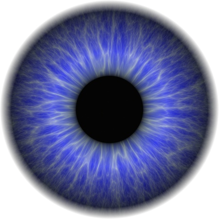 irises: Big blue eye with an opaque lens in the centre