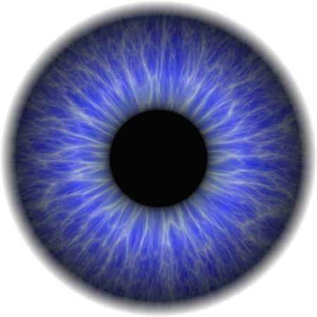 Grote blauwe ogen met een ondoorzichtige lens in het centrum Stockfoto