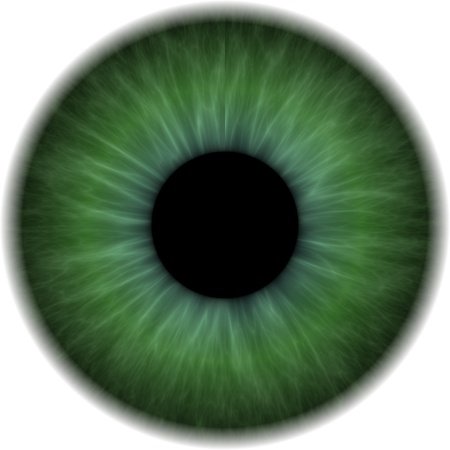 opaque: Big green eye with an opaque lens in the centre