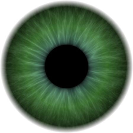 Gran ojo verde con un lente opaco en el centro Foto de archivo