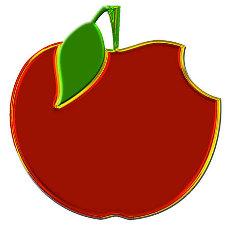 golden apple: golden red apple with a green leaf