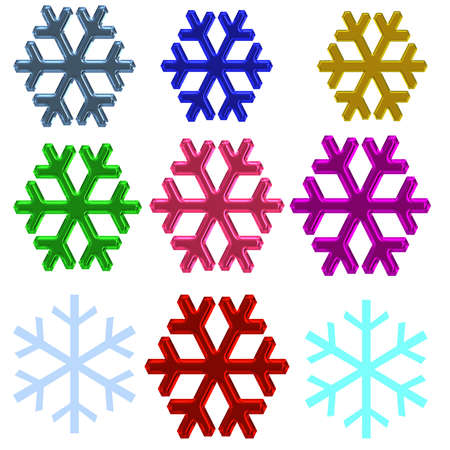 a set of metalic snow flakes in various colors photo