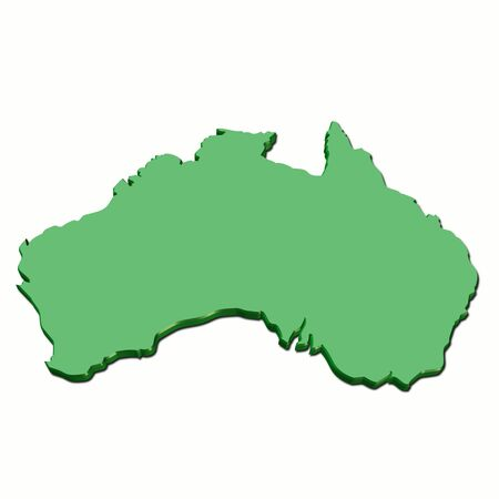 3d map of australia in green color photo