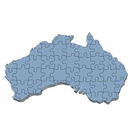 3d map of australia in light blue color photo