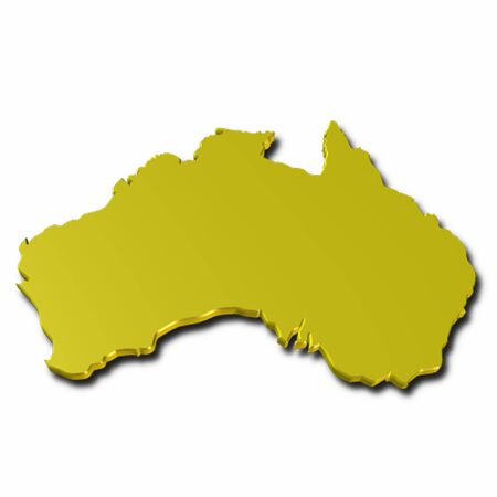 3d map of australia in golden color photo