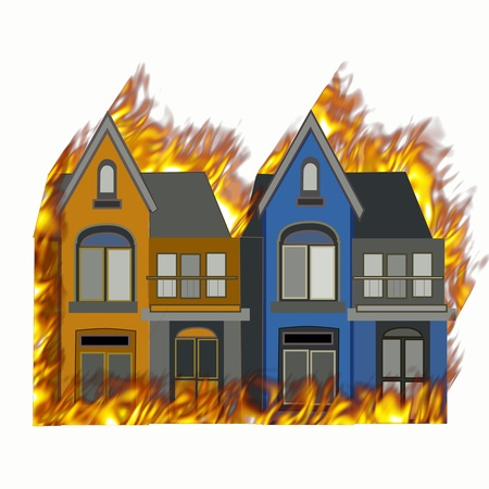 yellow house: burning house on fire with flames on all sides Stock Photo