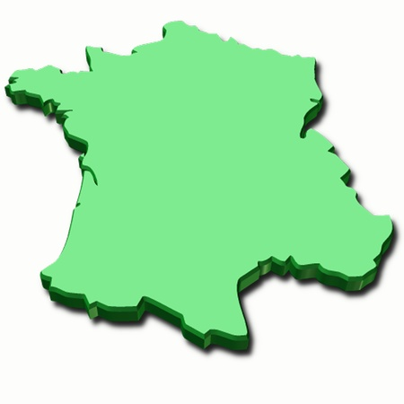flag of france: 3d map of France in green color Stock Photo