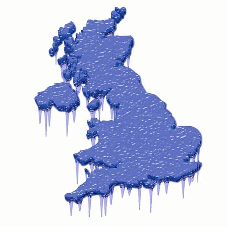 british isles: Britain 3d map in steel blue with gray shadow below Stock Photo