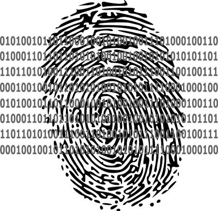 odcisk kciuka: Kod binarny i odcisk palca Ilustracja