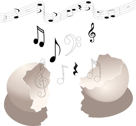 musical notes coming out of broken egg shell Vector