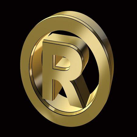 registration mark symbol in gold on a black background Stock Photo - 9152569