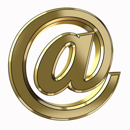 alias of email in 3d gold isolated on a white background photo