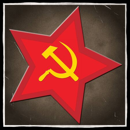 an old  black and white photo print with scratches and a the red communist star with sickle and hammer photo