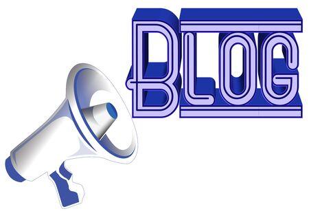 megaphone announcing a blog Stock Photo - 12745132