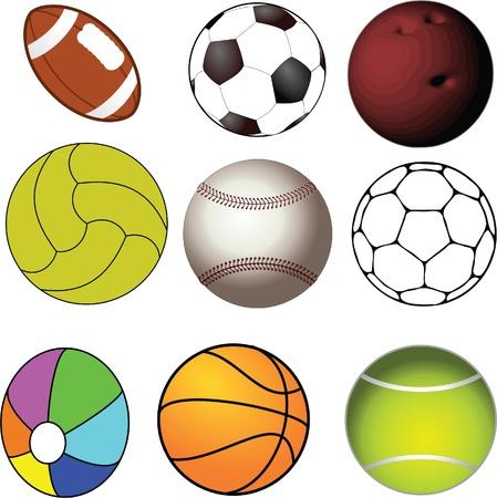 pelota de rugby: colección de bolas usadas en deportes