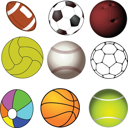 collection of balls used in sports Vector