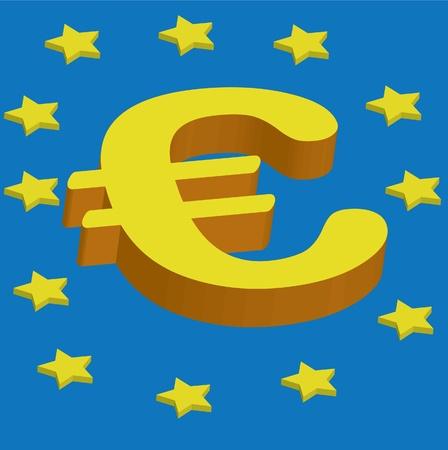 3d euro symbol Stock Vector - 12497305
