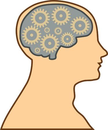 thinking machine: human brain process Illustration