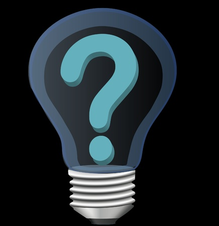 questioner: light bulb with question mark Illustration