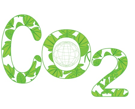 toxic emissions: carbon dioxide and green Illustration