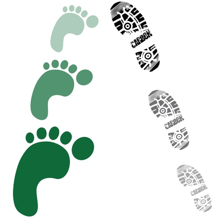 green foot prints and shoe prints Vector