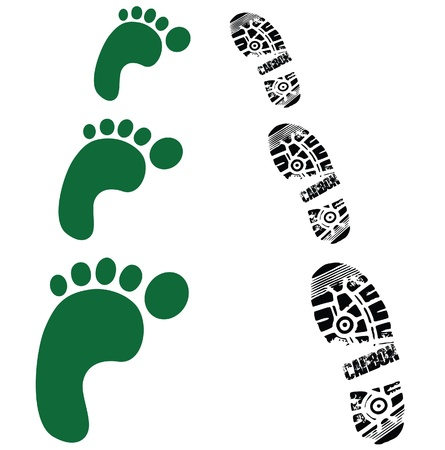 foot print: green foots and shoes prints Illustration