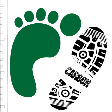 carbon pollution: green footprint with shoe print