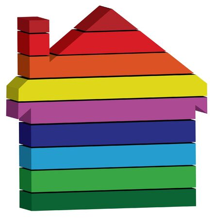 yellow roof: rainbow color 3d house symbol
