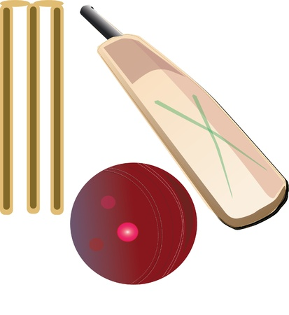 cricket stump: Cricket gear bat and ball