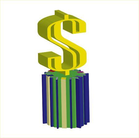 3d dollar symbol on pedestal Stock Photo - 12779004