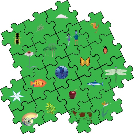 green conservation puzzle assembly pieces Stock Photo - 12779011