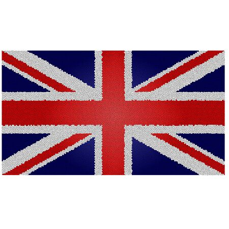 british flag: united kingdom flag with an aristic patchwork
