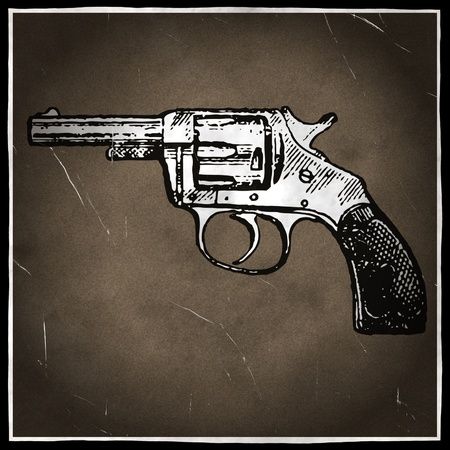 six gun: Vintage revolver in old damaged historical photograph Stock Photo