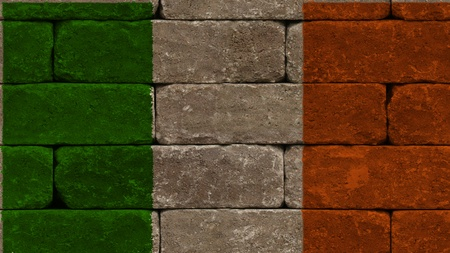 flag of ireland on old bricks wall photo