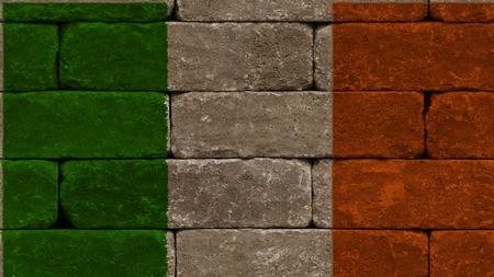 northern ireland: flag of ireland on old bricks wall
