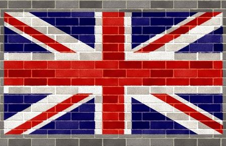 Flag of Great Britain on gray brick wall photo