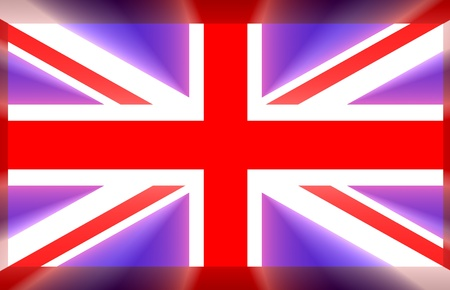 Flag of great britain with light rays coming out photo